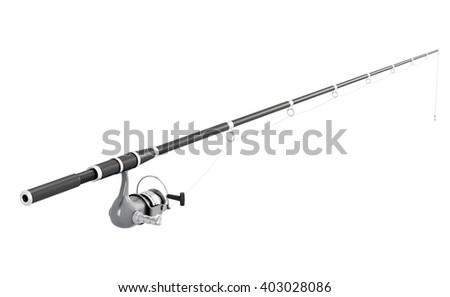Fishing rod spinning isolated on white background. 3d image render. - stock photo