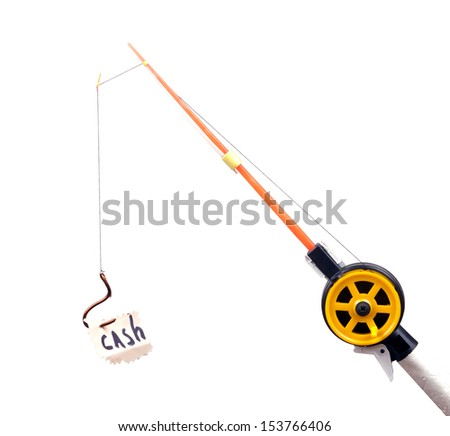 """fishing rod with a hook on wearing the piece of paper with the word """"cash"""" - stock photo"""