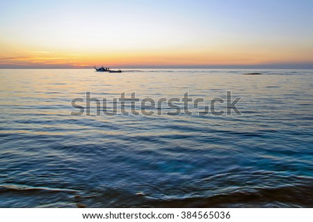 Fishing ships on the Mediterranean sea