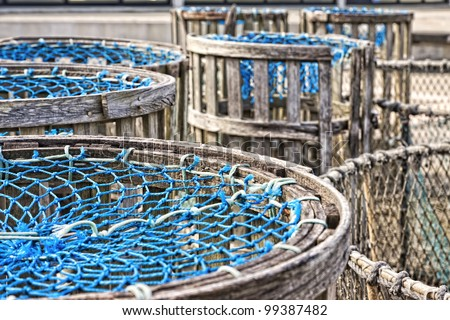 fishing traps in Galicia, Spain - stock photo