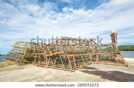 Fishing traps in Thailand - stock photo