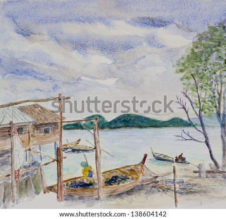 fishing village and seascapes ' water color painting  - stock photo