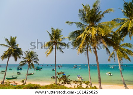 fishing village and turquoise sea on Phu Quoc, Vietnam  - stock photo