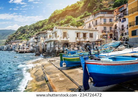 Fishing village in calabria, Scilla, Italy - stock photo