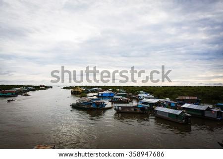 Fishing Village in Cambodia - stock photo