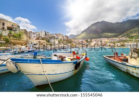 Fishing village in Sicily, Italy - stock photo