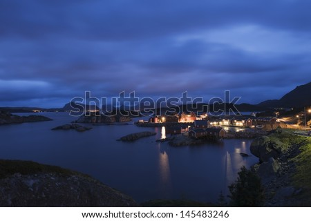 Fishing village on the Lofoten Islands Norway at night - stock photo