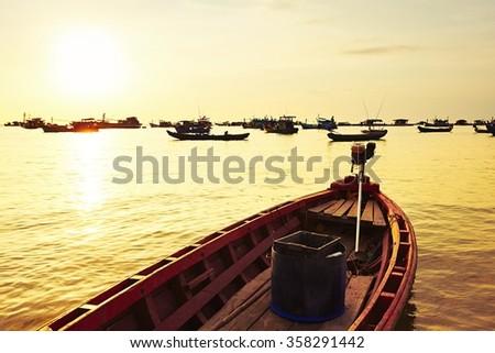 Fishing village on the sea - Phu Quoc island, Vietnam - stock photo