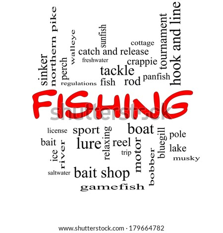 Fishing Word Cloud Concept in red caps with great terms such as bobber, lure, pole and more. - stock photo