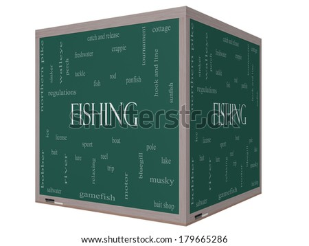 Fishing Word Cloud Concept on a 3D cube Blackboard with great terms such as bobber, lure, pole and more. - stock photo