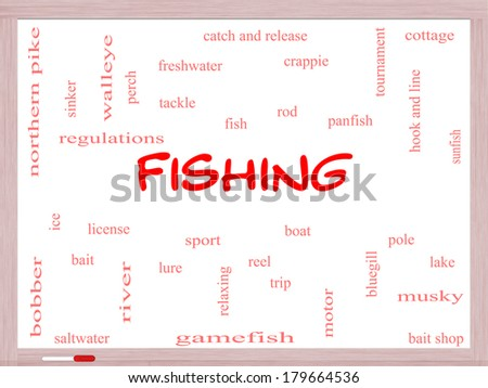 Fishing Word Cloud Concept on a Whiteboard with great terms such as bobber, lure, pole and more. - stock photo