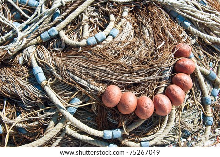 fishnet with floaters - stock photo