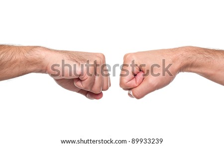 Fist bump isolated in white - stock photo