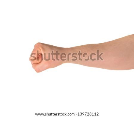 Fist caucasian hand gesture isolated over white background, side view view - stock photo