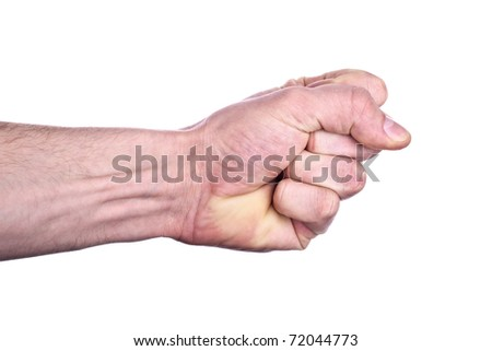 Fist, completely isolated on white - stock photo