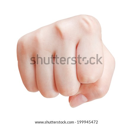 fist cut out - hand gesture isolated on white background