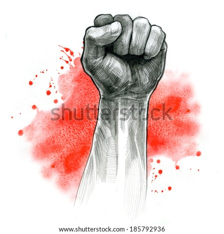 fist hand gesture, pencil drawing and watercolor  - stock photo