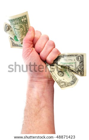 Fist Holding Dollar Bills Isolated on White - stock photo