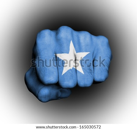 Fist of a man punching, flag of Somalia