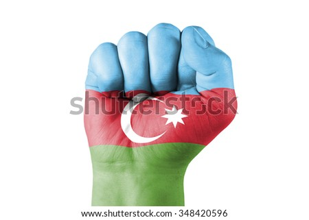 Fist of Azerbaijan flag painted, isolated