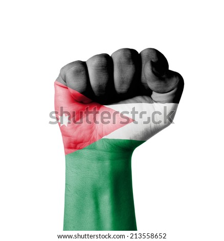 Fist of Jordan flag painted - stock photo