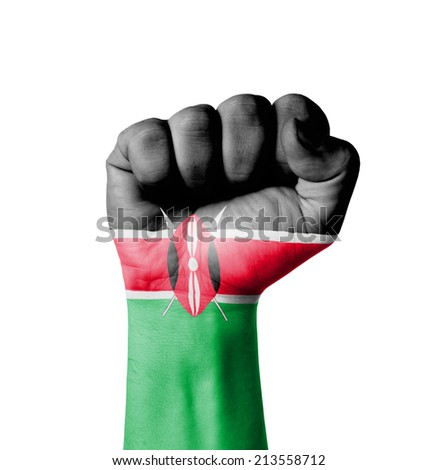 Fist of Kenya flag painted - stock photo