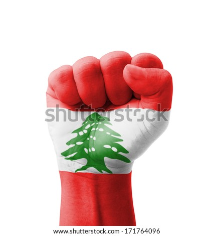 Fist of Lebanon flag painted, multi purpose concept - isolated on white background - stock photo
