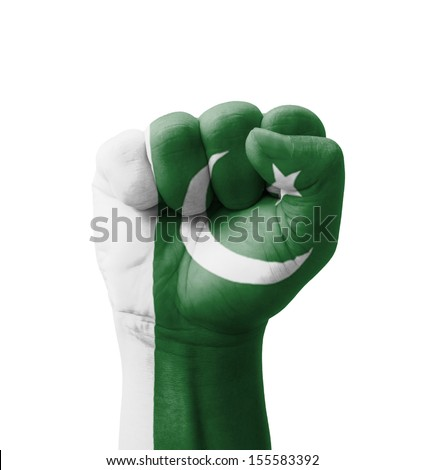 Fist of Pakistan flag painted, multi purpose concept - isolated on white background - stock photo