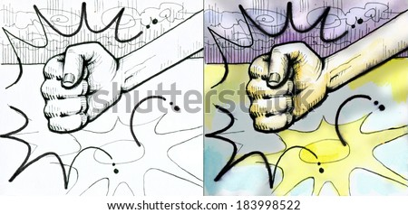 Fist punching or hitting with impact lines. On the left side black and white drawing. On the right side watercolor illustration - stock photo