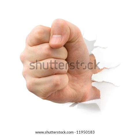 Fist punching thru paper, isolated on white background