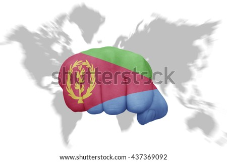 fist with the national flag of eritrea on a world map background - stock photo