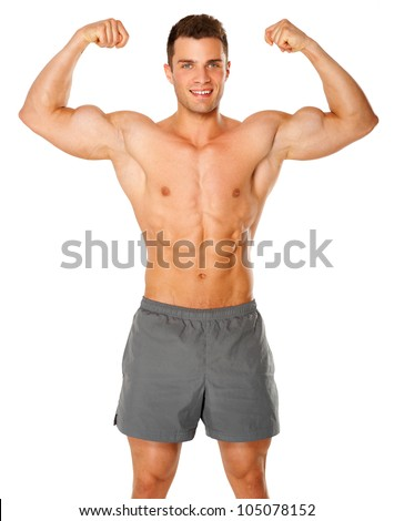 Fit and muscular man flexing his biceps on white background - stock photo