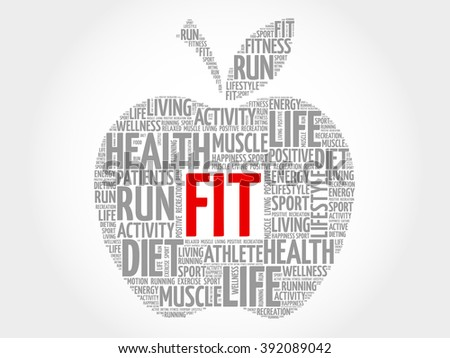 FIT apple word cloud concept - stock photo