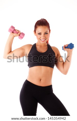 Fit beautiful woman with dumbbells - isolated over white background
