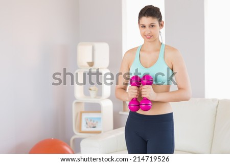 Fit brunette holding pink dumbbells at home in the living room - stock photo
