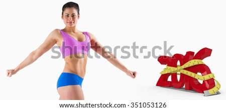 Fit brunette posing and looking at camera against white background with vignette - stock photo