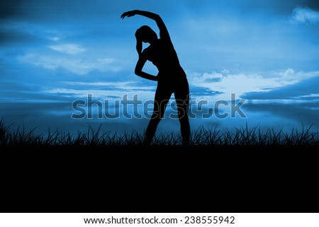 Fit brunette stretching and smiling against blue sky over grass - stock photo