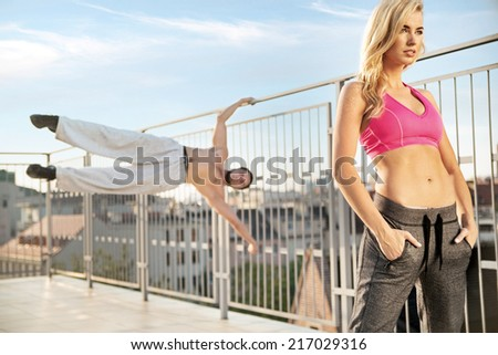 Fit couple in the city  - stock photo