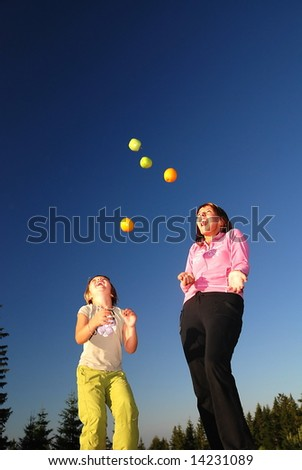 fit, fun, diet and healthy/easy food concept with girls in nature - stock photo
