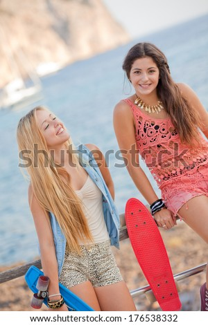 fit healthy young summer women - stock photo
