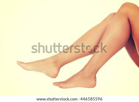 Fit long woman legs - stock photo