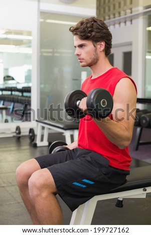 Fit man lifting heavy black dumbbells at the gym