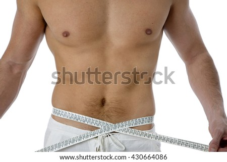 Fit man with centimeter isolated on white