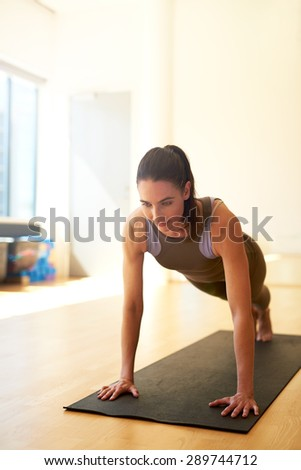 Fit woman doing press ups or push ups during pilates training in a fitness, healthy lifestyle and exercise concept - stock photo