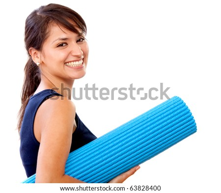 Fit woman with a gym mat - isolated over white - stock photo