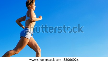 Fit young woman working out, from a complete series of photos. - stock photo