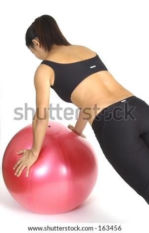 Fitball push-up 2 - stock photo