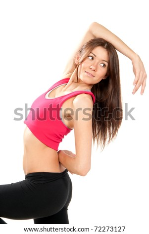 Fitness aerobic style dancer pose woman isolated over white background - stock photo