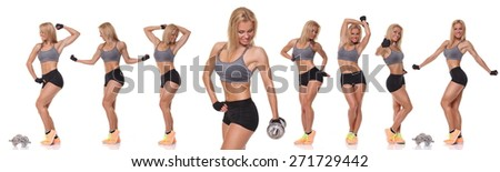 Fitness and Exercise Female Bodybuilder . collage - stock photo