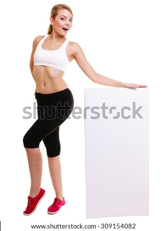 Fitness and health lifestyle advertisement. Young woman girl holding banner high up presenting blank empty ad copyspace isolated on white background.